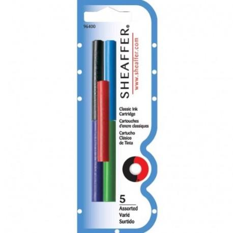 Cartouches classique Stylo plume couleurs variées SHEAFFER (lot de 5)